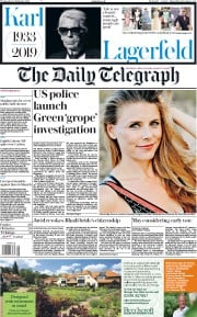 The Daily Telegraph () Newspaper Front Page for 20 February 2019