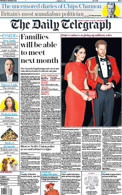 The Daily Telegraph Newspaper Front Page (UK) for 20 February 2021