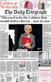 The Daily Telegraph (UK) Newspaper Front Page for 20 March 2019