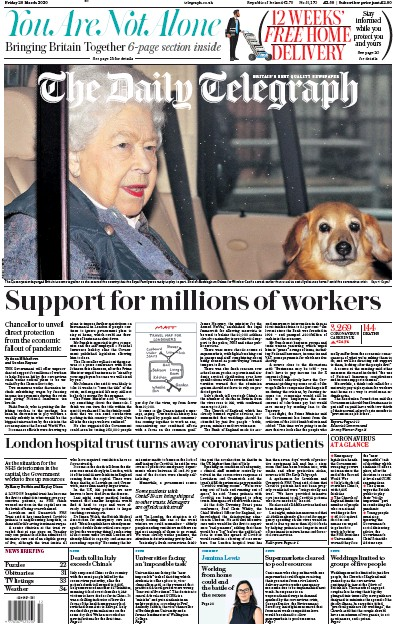The Daily Telegraph Newspaper Front Page (UK) for 20 March 2020