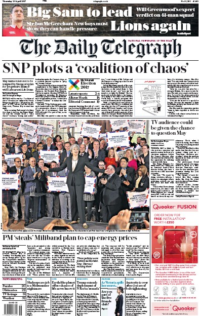 The Daily Telegraph Newspaper Front Page (UK) for 20 April 2017