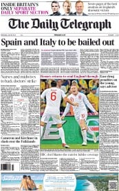 The Daily Telegraph Newspaper Front Page (UK) for 20 June 2012