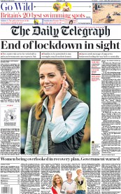 The Daily Telegraph front page for 20 June 2020