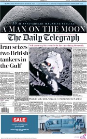 The Daily Telegraph (UK) Newspaper Front Page for 20 July 2019