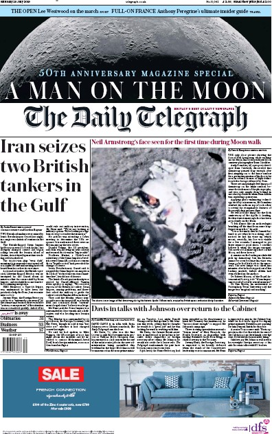 The Daily Telegraph Newspaper Front Page (UK) for 20 July 2019