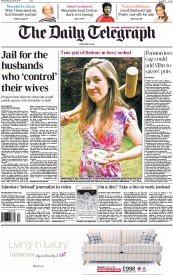 The Daily Telegraph (UK) Newspaper Front Page for 20 August 2014