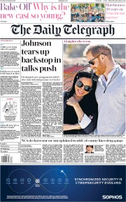 The Daily Telegraph (UK) Newspaper Front Page for 20 August 2019