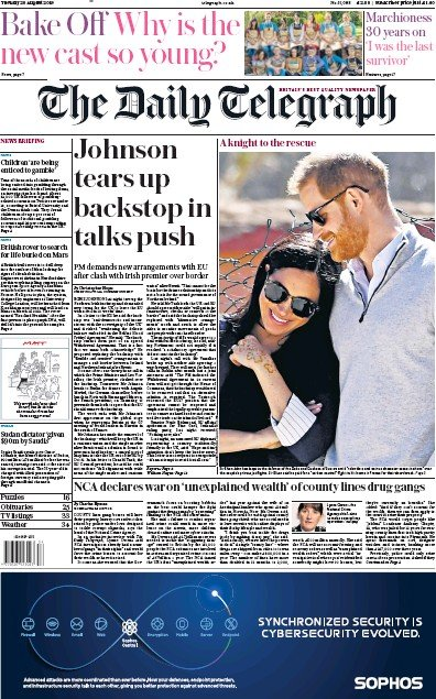 The Daily Telegraph Newspaper Front Page (UK) for 20 August 2019