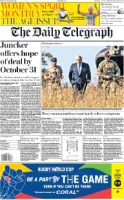 The Daily Telegraph (UK) Newspaper Front Page for 20 September 2019
