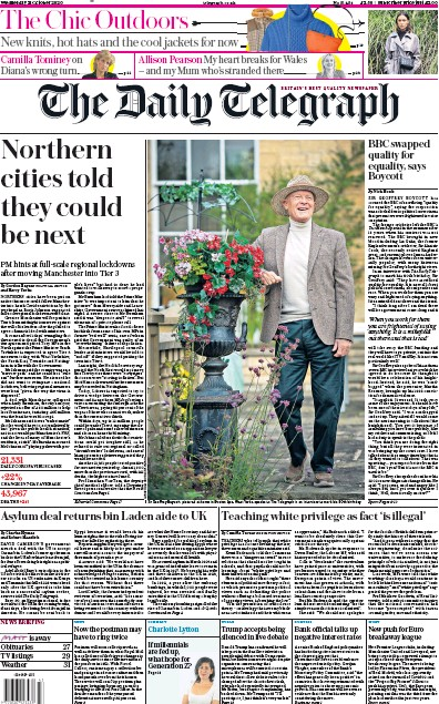 The Daily Telegraph Newspaper Front Page (UK) for 21 October 2020