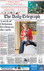 The Daily Telegraph front page for 21 November 2020