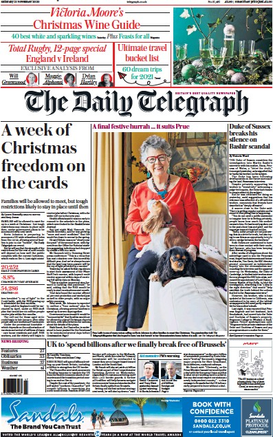 The Daily Telegraph Newspaper Front Page (UK) for 21 November 2020