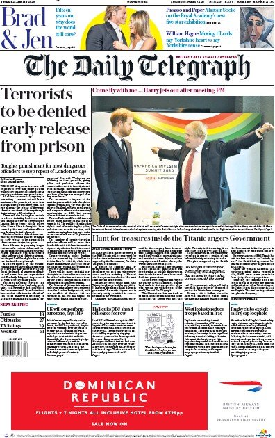 The Daily Telegraph Newspaper Front Page (UK) for 21 January 2020