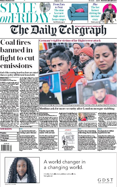 The Daily Telegraph Newspaper Front Page (UK) for 21 February 2020