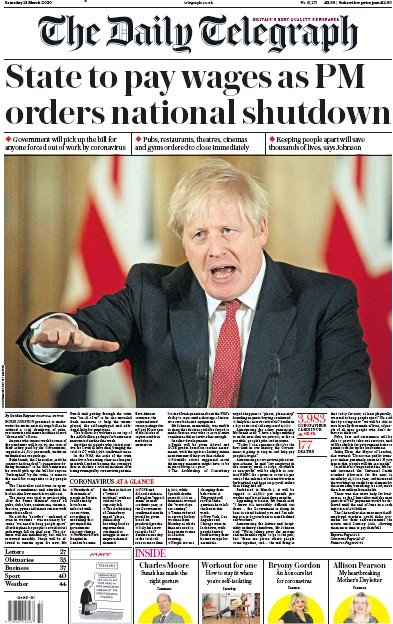 The Daily Telegraph Newspaper Front Page (UK) for 21 March 2020