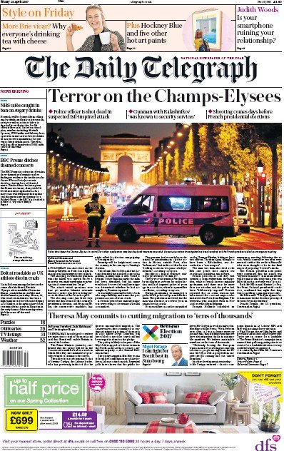 The Daily Telegraph Newspaper Front Page (UK) for 21 April 2017