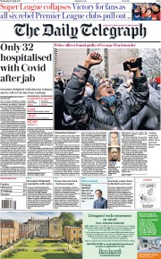 The Daily Telegraph front page for 21 April 2021