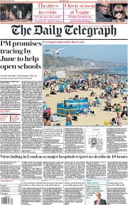 The Daily Telegraph front page for 21 May 2020