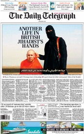 The Daily Telegraph (UK) Newspaper Front Page for 21 August 2014