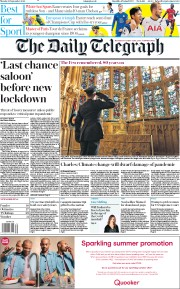 The Daily Telegraph front page for 21 September 2020