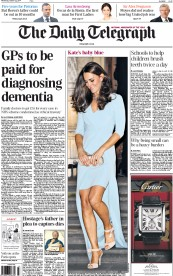 The Daily Telegraph (UK) Newspaper Front Page for 22 October 2014