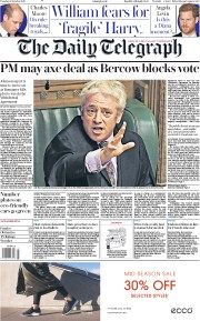 The Daily Telegraph (UK) Newspaper Front Page for 22 October 2019