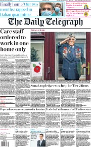 The Daily Telegraph front page for 22 October 2020