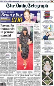 The Daily Telegraph (UK) Newspaper Front Page for 22 November 2014
