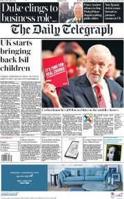 The Daily Telegraph (UK) Newspaper Front Page for 22 November 2019
