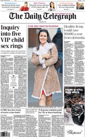The Daily Telegraph (UK) Newspaper Front Page for 22 December 2014