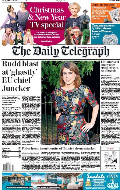 The Daily Telegraph Newspaper Front Page (UK) for 22 December 2018