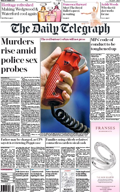 The Daily Telegraph Newspaper Front Page (UK) for 22 January 2016