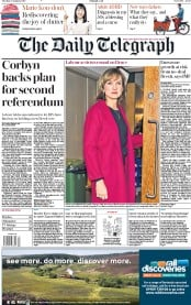 The Daily Telegraph (UK) Newspaper Front Page for 22 January 2019