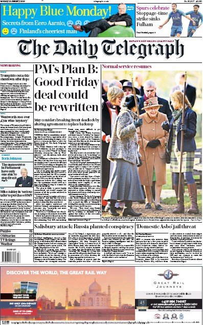 The Daily Telegraph Newspaper Front Page (UK) for 22 January 2019
