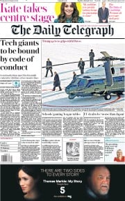 The Daily Telegraph (UK) Newspaper Front Page for 22 January 2020