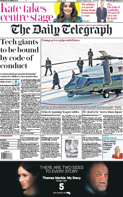 The Daily Telegraph Newspaper Front Page (UK) for 22 January 2020