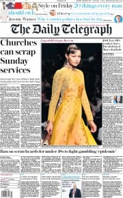 The Daily Telegraph (UK) Newspaper Front Page for 22 February 2019