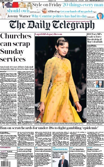 The Daily Telegraph Newspaper Front Page (UK) for 22 February 2019