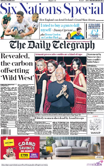 The Daily Telegraph Newspaper Front Page (UK) for 22 February 2020