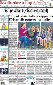 The Daily Telegraph front page for 22 February 2021