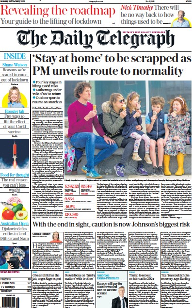 The Daily Telegraph Newspaper Front Page (UK) for 22 February 2021