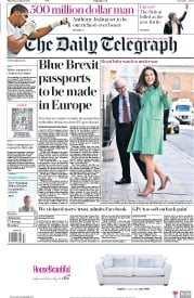 The Daily Telegraph (UK) Newspaper Front Page for 22 March 2018