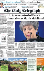 The Daily Telegraph () Newspaper Front Page for 22 March 2019