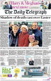 The Daily Telegraph (UK) Newspaper Front Page for 22 April 2019