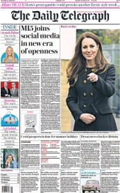 The Daily Telegraph front page for 22 April 2021