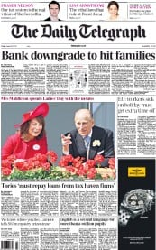 The Daily Telegraph Newspaper Front Page (UK) for 22 June 2012