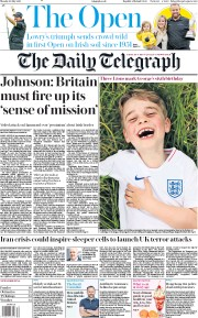 The Daily Telegraph () Newspaper Front Page for 22 July 2019