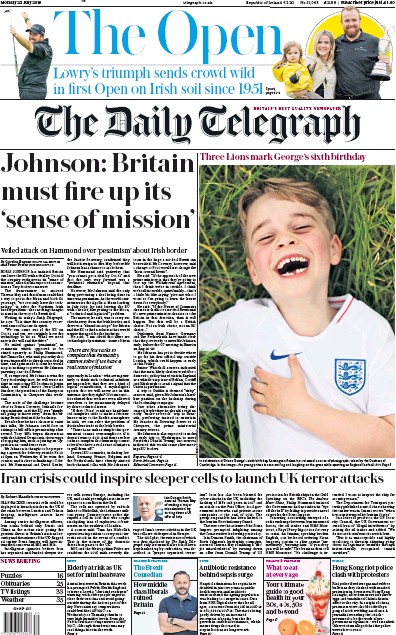 The Daily Telegraph Newspaper Front Page (UK) for 22 July 2019