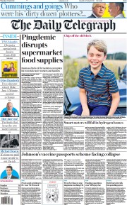 The Daily Telegraph () Newspaper Front Page for 22 July 2021