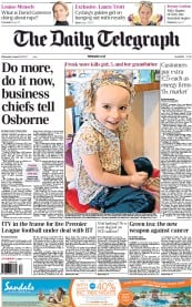 The Daily Telegraph Newspaper Front Page (UK) for 22 August 2012